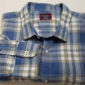 UNTUCKit Mens BLue White Gray Plaid Shirt XXL